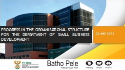 PROGRESS IN THE ORGANISATIONAL STRUCTURE FOR THE DEPARTMENT OF SMALL BUSINESS DEVELOPMENT