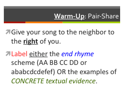 Warm-Up : Pair-Share Give your song to the neighbor to the