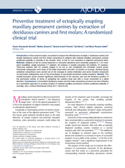 Preventive treatment of ectopically erupting maxillary