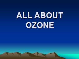 ALL ABOUT OZONE TROPOSPHERE