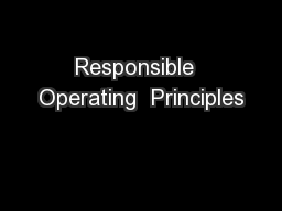 Responsible  Operating  Principles PowerPoint PPT Presentation