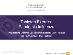 Tabletop Exercise  Pandemic Influenza