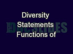 Diversity Statements Functions of