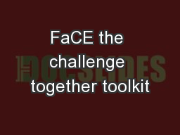 FaCE the challenge together toolkit