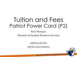 Tuition and Fees Patriot Power Card (P2)