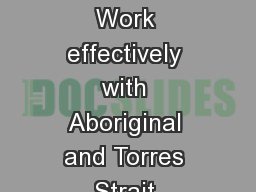 HLTHOR404D Work effectively with Aboriginal and Torres Strait Islander People