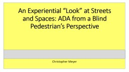 An Experiential �Look� at Streets and Spaces: ADA from a Blind Pedestrian�s Perspective