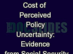 The Welfare Cost of  Perceived Policy Uncertainty: Evidence from Social Security