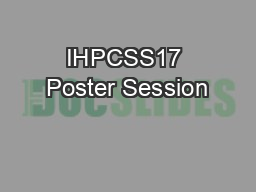 IHPCSS17 Poster Session