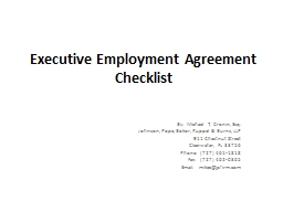 Executive  Employment Agreement Checklist