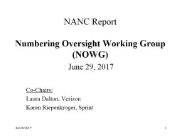 NANC Report  Numbering Oversight Working Group