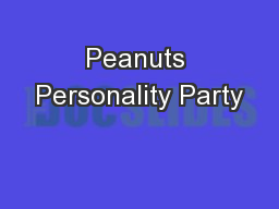 Peanuts Personality Party