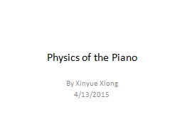 Physics of the Piano By