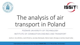The  analysis  of  air  transport in Poland