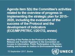 Agenda item 5(b) the Committee's activities related to the overview of progress in implementing t