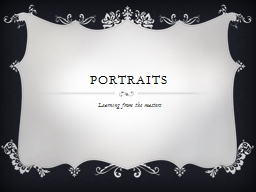 Portraits Learning from the masters