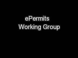 ePermits  Working Group PowerPoint PPT Presentation