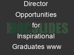 Assistant Director Opportunities for Inspirational Graduates www