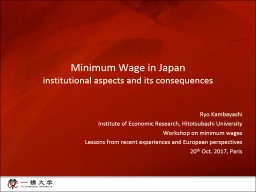 Minimum Wage in Japan i nstitutional aspects and its consequences