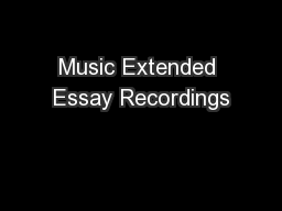 Music Extended Essay Recordings