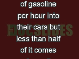 mericans pump on average  million gallons of gasoline per hour into their cars but less than half of it comes from oil produced in the United States