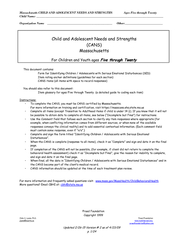 Massachusetts CHILD AND ADOLESCENT NEEDS AND STRENGTHS