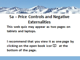 5a – Price Controls and Negative Externalities