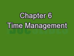 Chapter 6 Time Management