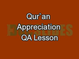 Qur`an Appreciation QA Lesson