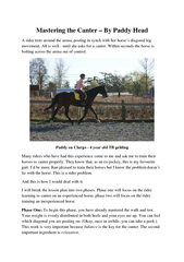 Mastering the Canter  By Paddy Head A rider trots arou