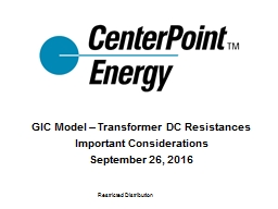 GIC Model – Transformer DC Resistances