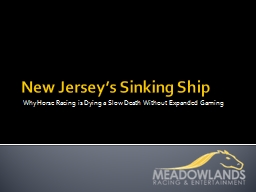 New Jersey�s Sinking Ship