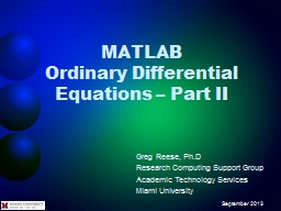 MATLAB Ordinary Differential Equations � Part II