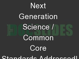 Radiology Next Generation Science / Common Core Standards Addressed!