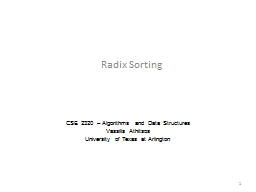 Radix Sorting CSE  2320 – Algorithms and Data Structures