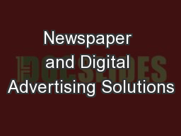 Newspaper and Digital Advertising Solutions