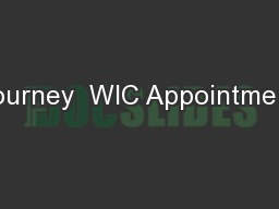 Journey  WIC Appointment