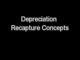 Depreciation Recapture Concepts