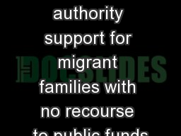 Local authority support for migrant families with no recourse to public funds