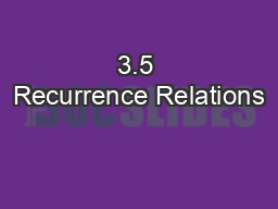 3.5 Recurrence Relations
