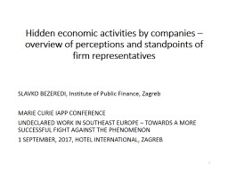 Hidden economic activities by companies – overview of perceptions and standpoints of firm represe