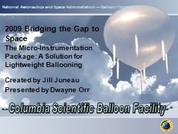 National Aeronautics and Space Administration — Balloon Program