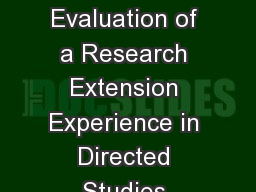 Development and Evaluation of a Research Extension Experience in Directed Studies (REEDS) for Physi
