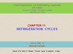 C HAPTER  1 1  REFRIGERATION CYCLES
