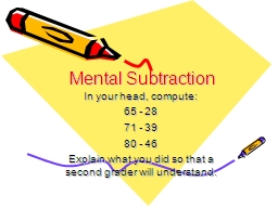 Mental Subtraction In your head, compute: