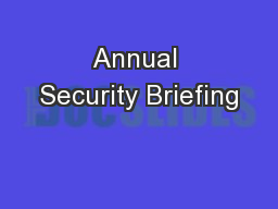 Annual Security Briefing