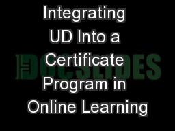 Integrating UD Into a Certificate Program in Online Learning