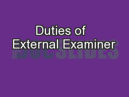 Duties of  External Examiner