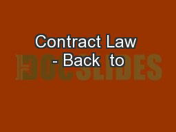 Contract Law - Back  to