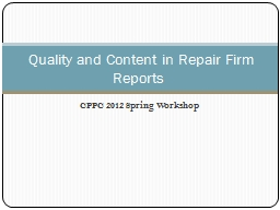 CPPC 2012 Spring Workshop